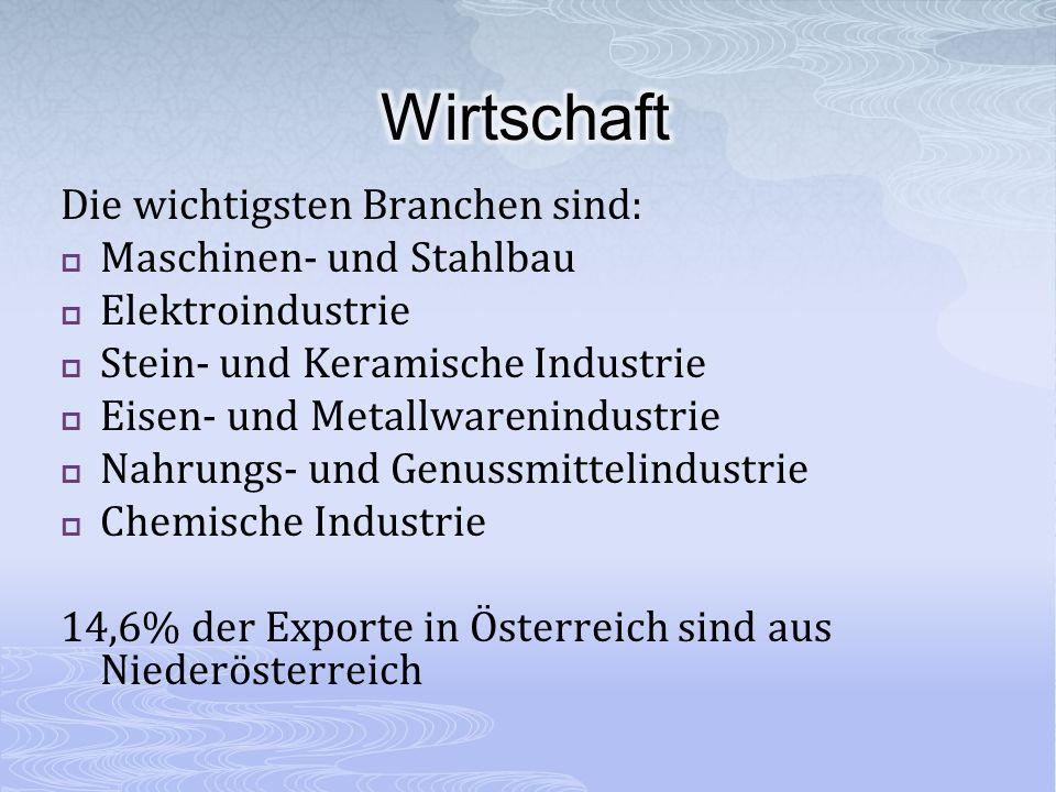 Die wichtigsten Branchen sind: Maschinen- und Stahlbau Elektroindustrie Stein- und Keramische Industrie Eisen- und Metallwarenindustrie Nahrungs- und Genussmittelindustrie Chemische Industrie 14,6% der Exporte in Österreich sind aus Niederösterreich