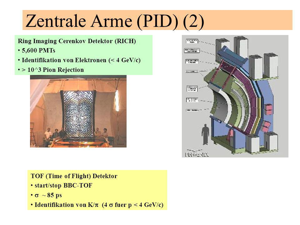 Zentrale Arme (PID) (2) Ring Imaging Cerenkov Detektor (RICH) 5,600 PMTs Identifikation von Elektronen (< 4 GeV/c) > 10^3 Pion Rejection TOF (Time of Flight) Detektor start/stop BBC-TOF ~ 85 ps Identifikation von K/ (4 fuer p < 4 GeV/c)