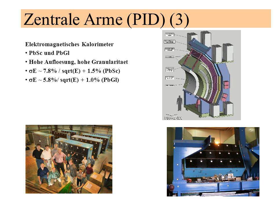 Zentrale Arme (PID) (3) Elektromagnetisches Kalorimeter PbSc und PbGl Hohe Aufloesung, hohe Granularitaet E ~ 7.8% / sqrt(E) + 1.5% (PbSc) E ~ 5.8%/ sqrt(E) + 1.0% (PbGl)