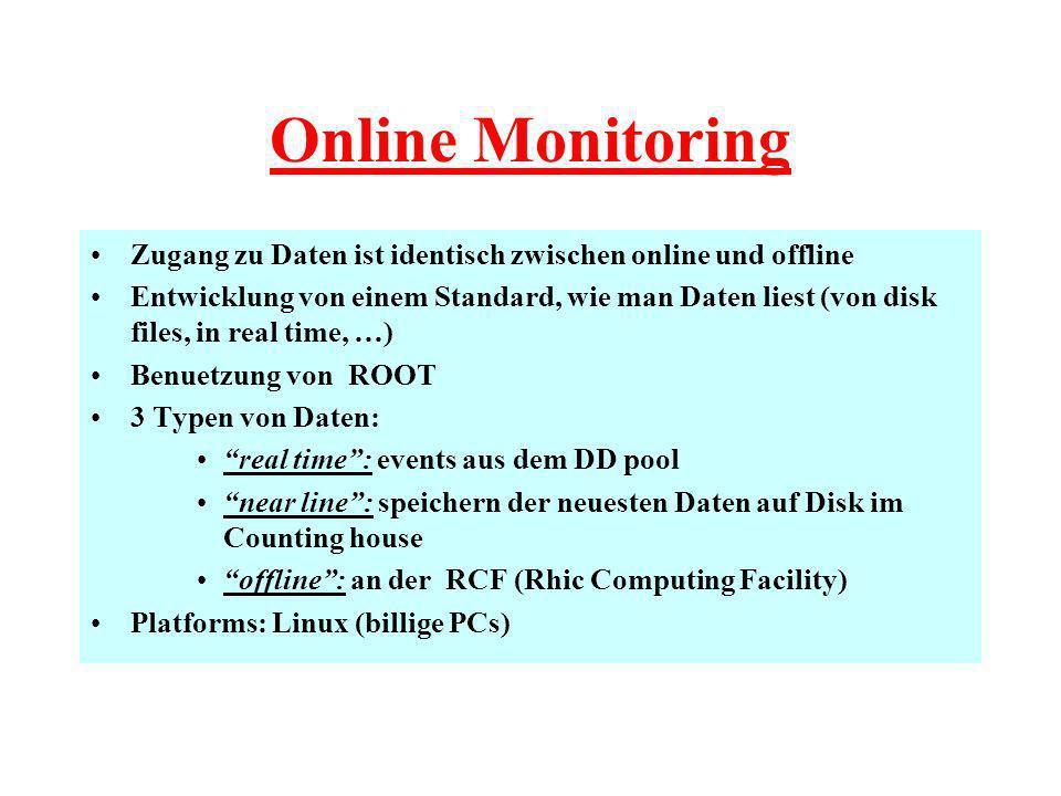 Online Monitoring Zugang zu Daten ist identisch zwischen online und offline Entwicklung von einem Standard, wie man Daten liest (von disk files, in real time, …) Benuetzung von ROOT 3 Typen von Daten: real time: events aus dem DD pool near line: speichern der neuesten Daten auf Disk im Counting house offline: an der RCF (Rhic Computing Facility) Platforms: Linux (billige PCs)