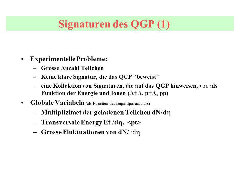Signaturen des QGP (1) Experimentelle Probleme: –Grosse Anzahl Teilchen –Keine klare Signatur, die das QCP beweist –eine Kollektion von Signaturen, die auf das QGP hinweisen, v.a.