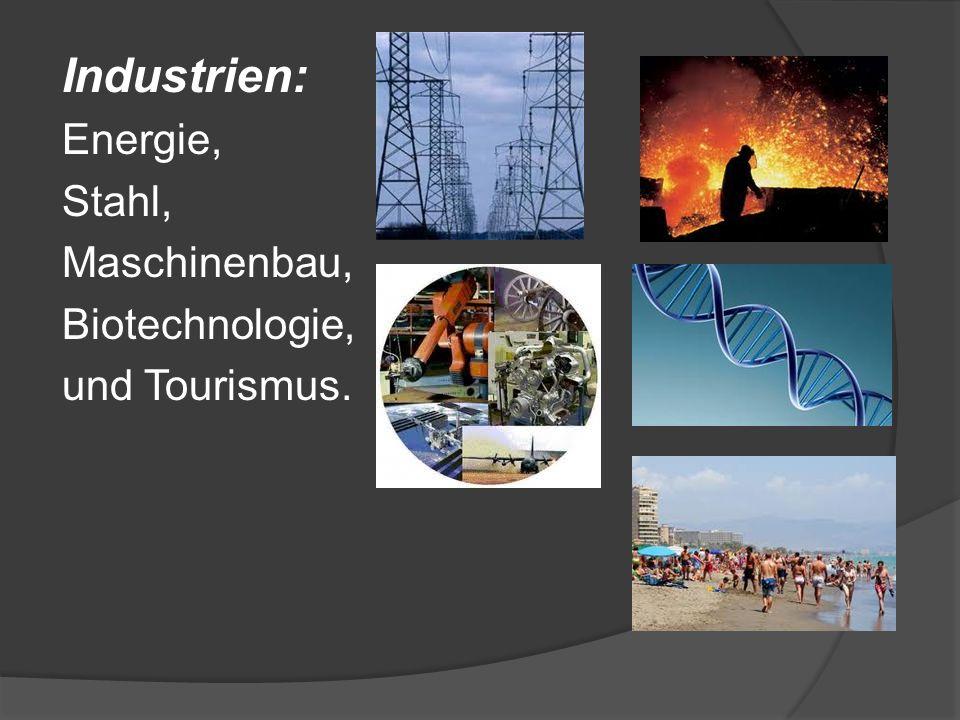 Industrien: Energie, Stahl, Maschinenbau, Biotechnologie, und Tourismus.