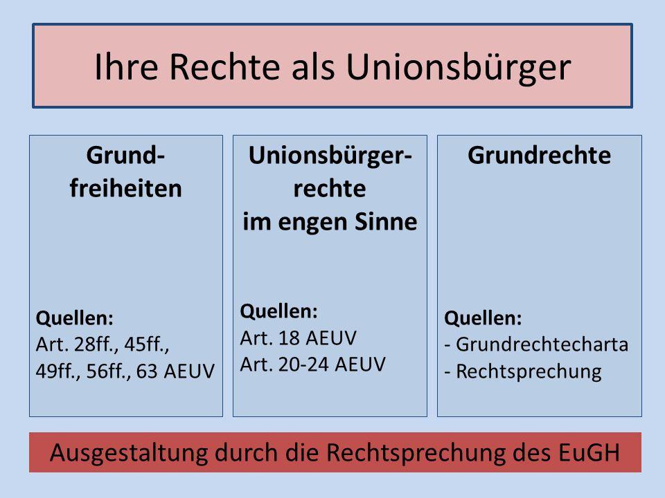 Ihre Rechte als Unionsbürger Unionsbürger- rechte im engen Sinne Quellen: Art. 18 AEUV Art. 20-24 AEUV Grund- freiheiten Quellen: Art. 28ff., 45ff., 4