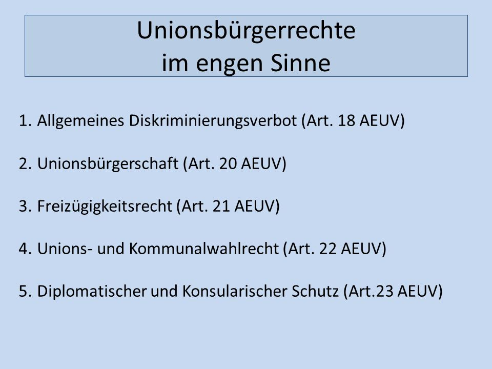 Unionsbürgerrechte im engen Sinne 1.Allgemeines Diskriminierungsverbot (Art. 18 AEUV) 2.Unionsbürgerschaft (Art. 20 AEUV) 3.Freizügigkeitsrecht (Art.