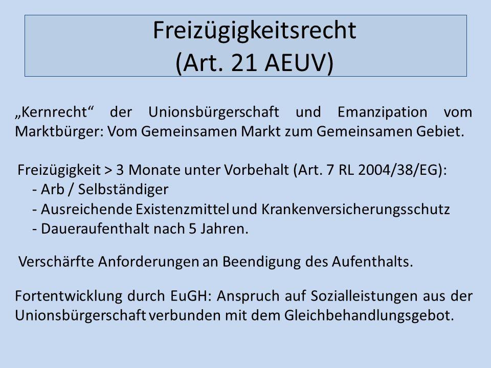 Freizügigkeitsrecht (Art. 21 AEUV) Kernrecht der Unionsbürgerschaft und Emanzipation vom Marktbürger: Vom Gemeinsamen Markt zum Gemeinsamen Gebiet. Fo