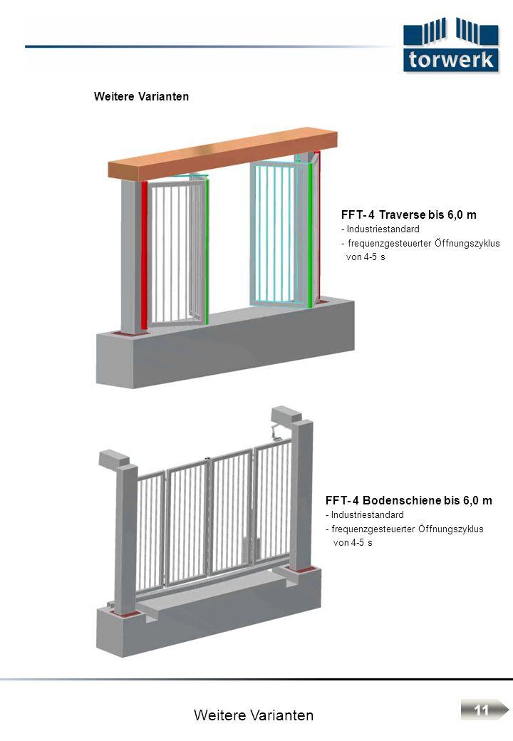 Weitere Varianten FFT- 4 Traverse bis 6,0 m - Industriestandard - frequenzgesteuerter Öffnungszyklus von 4-5 s FFT- 4 Bodenschiene bis 6,0 m - Industr