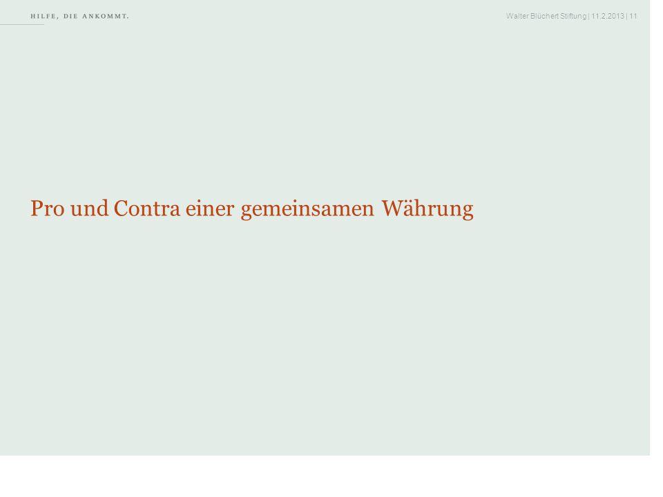 Walter Blüchert Stiftung | 11.2.2013 | 11 Pro und Contra einer gemeinsamen Währung