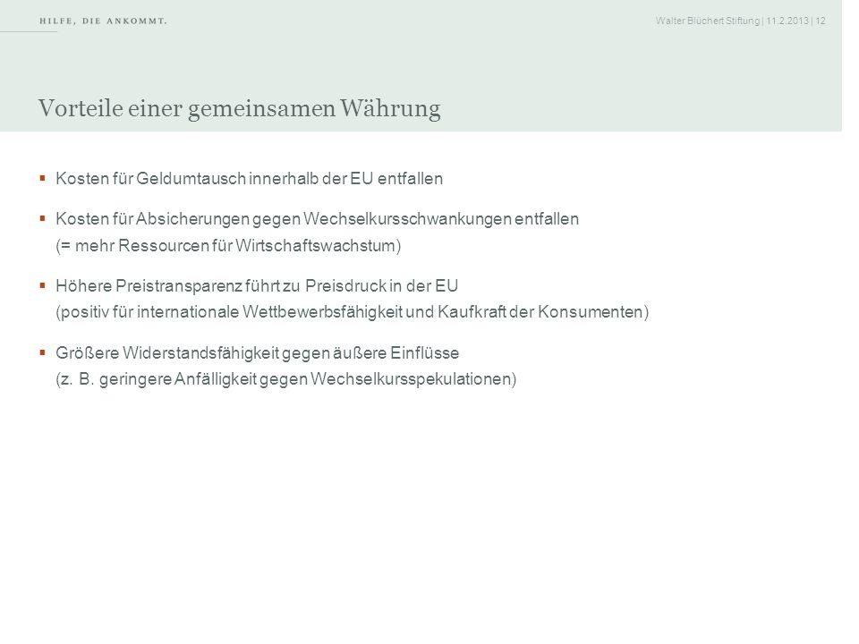 Walter Blüchert Stiftung | 11.2.2013 | 12 Vorteile einer gemeinsamen Währung Kosten für Geldumtausch innerhalb der EU entfallen Kosten für Absicherung