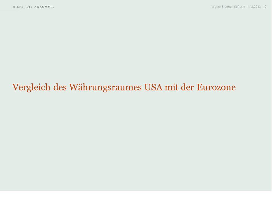 Walter Blüchert Stiftung | 11.2.2013 | 19 Vergleich des Währungsraumes USA mit der Eurozone