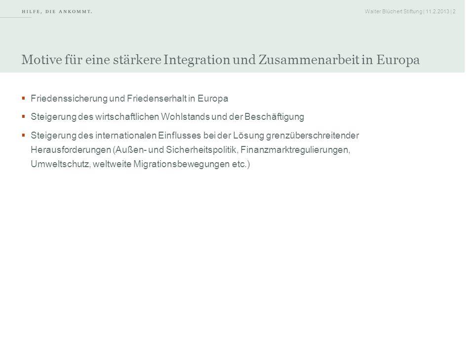 Walter Blüchert Stiftung | 11.2.2013 | 2 Motive für eine stärkere Integration und Zusammenarbeit in Europa Friedenssicherung und Friedenserhalt in Eur