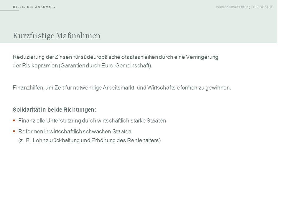 Walter Blüchert Stiftung | 11.2.2013 | 26 Kurzfristige Maßnahmen Reduzierung der Zinsen für südeuropäische Staatsanleihen durch eine Verringerung der