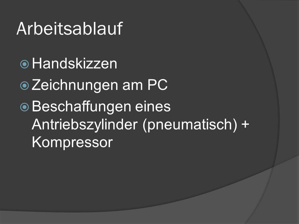 Arbeitsablauf Handskizzen Zeichnungen am PC Beschaffungen eines Antriebszylinder (pneumatisch) + Kompressor