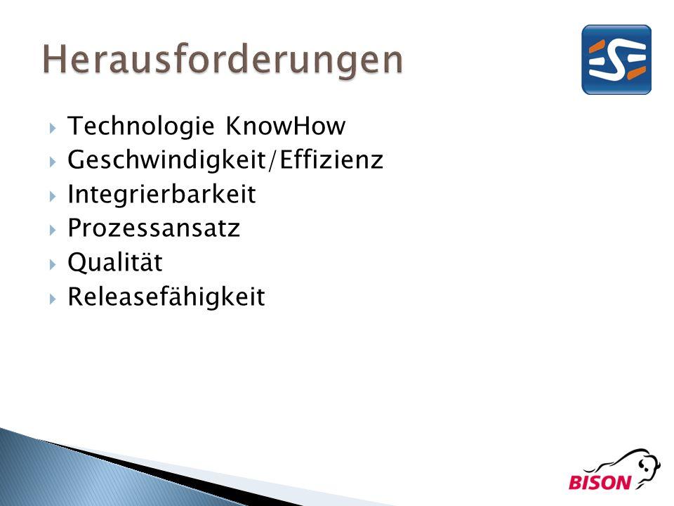 Technologie KnowHow Geschwindigkeit/Effizienz Integrierbarkeit Prozessansatz Qualität Releasefähigkeit