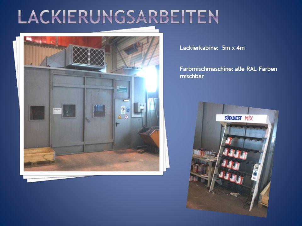 Lackierkabine: 5m x 4m Farbmischmaschine: alle RAL-Farben mischbar