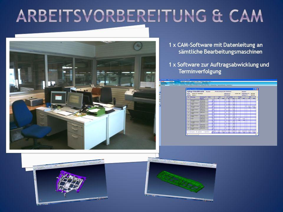 1 x CAM-Software mit Datenleitung an sämtliche Bearbeitungsmaschinen 1 x Software zur Auftragsabwicklung und Terminverfolgung