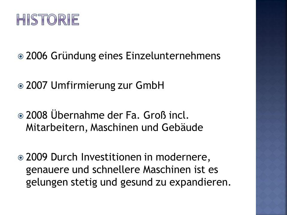 2006 Gründung eines Einzelunternehmens 2007 Umfirmierung zur GmbH 2008 Übernahme der Fa. Groß incl. Mitarbeitern, Maschinen und Gebäude 2009 Durch Inv
