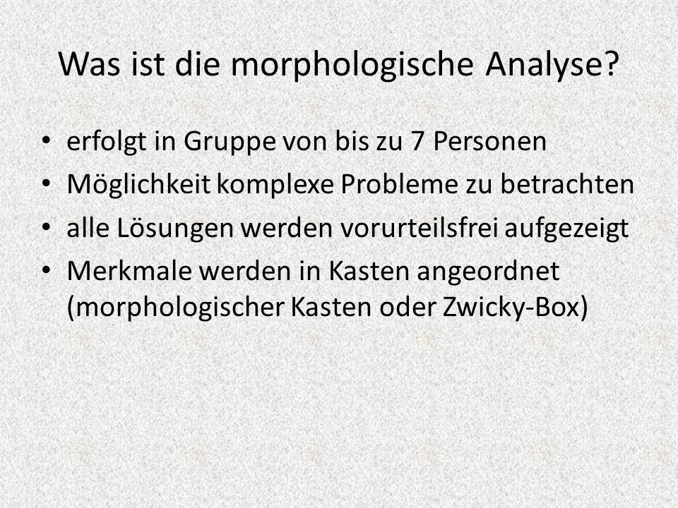 Was ist die morphologische Analyse? erfolgt in Gruppe von bis zu 7 Personen Möglichkeit komplexe Probleme zu betrachten alle Lösungen werden vorurteil