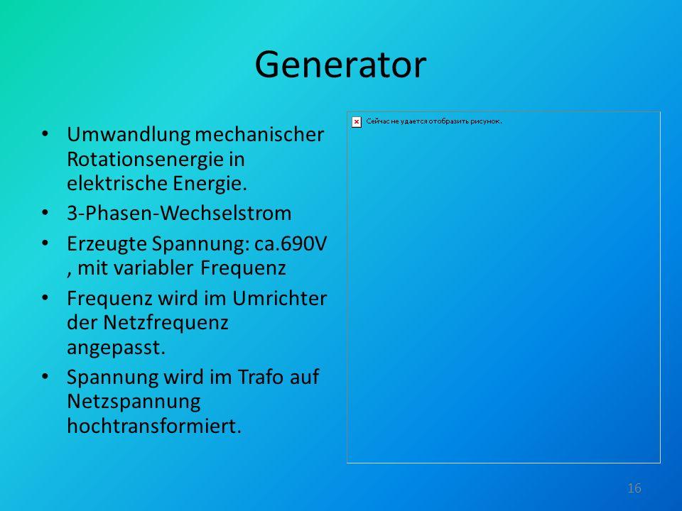 Generator Umwandlung mechanischer Rotationsenergie in elektrische Energie. 3-Phasen-Wechselstrom Erzeugte Spannung: ca.690V, mit variabler Frequenz Fr