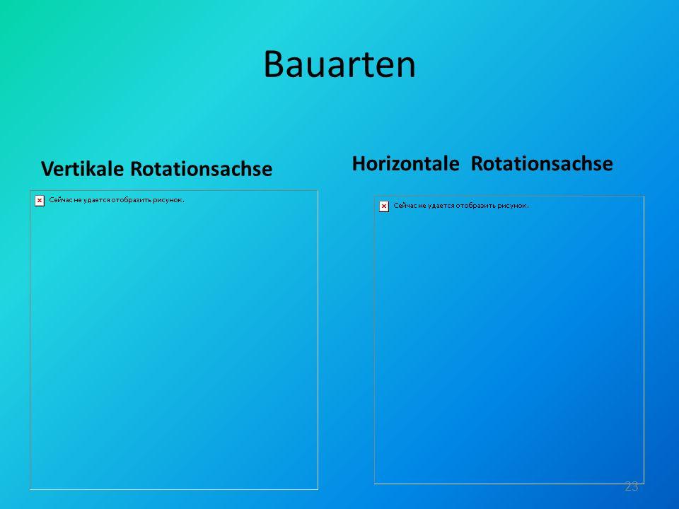 Bauarten Vertikale Rotationsachse Horizontale Rotationsachse 23