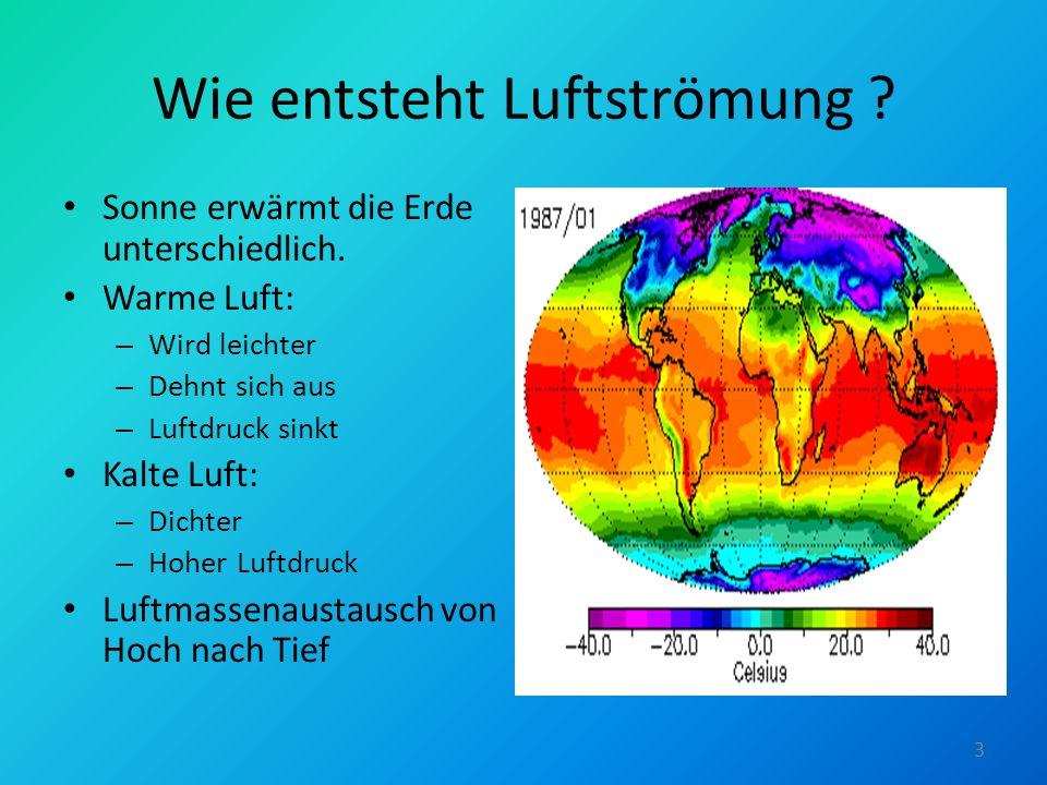 Wie entsteht Luftströmung ? Sonne erwärmt die Erde unterschiedlich. Warme Luft: – Wird leichter – Dehnt sich aus – Luftdruck sinkt Kalte Luft: – Dicht