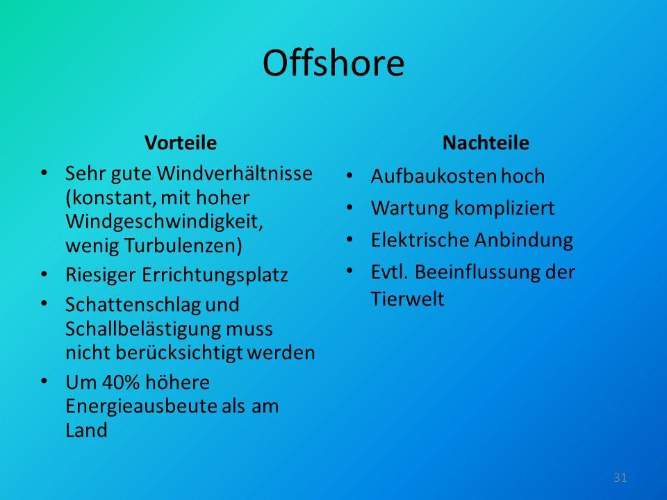 Offshore Vorteile Sehr gute Windverhältnisse (konstant, mit hoher Windgeschwindigkeit, wenig Turbulenzen) Riesiger Errichtungsplatz Schattenschlag und