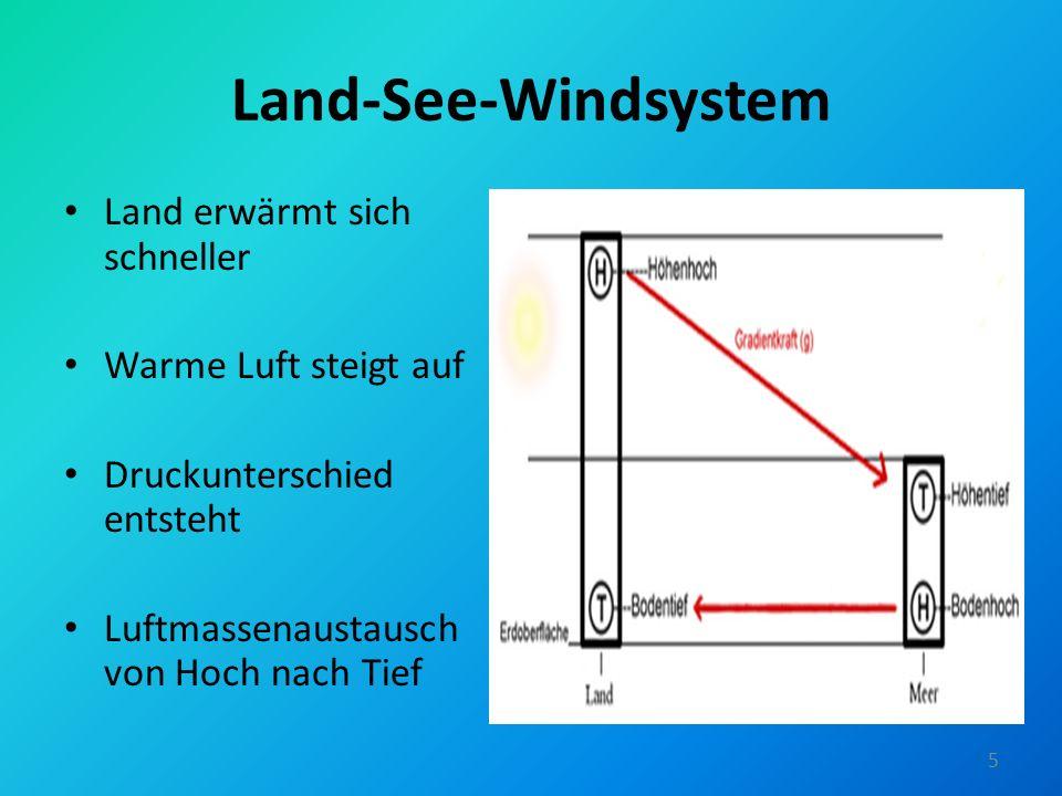 Land-See-Windsystem Land erwärmt sich schneller Warme Luft steigt auf Druckunterschied entsteht Luftmassenaustausch von Hoch nach Tief 5