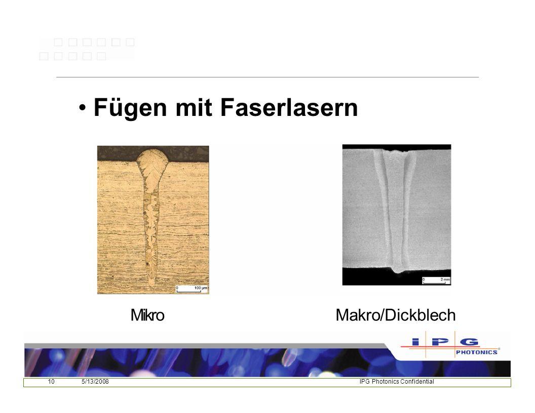 105/13/2008IPG Photonics Confidential Fügen mit Faserlasern MikroMakro/Dickblech
