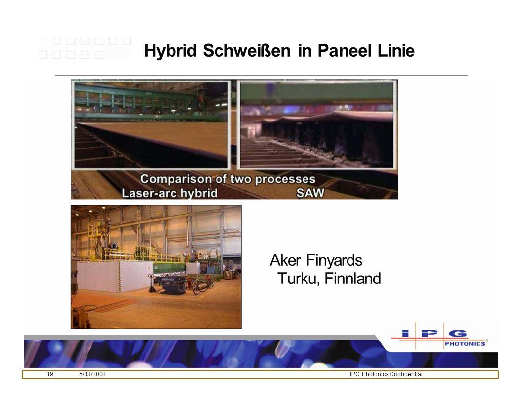 195/13/2008IPG Photonics Confidential Hybrid Schweißen in Paneel Linie Aker Finyards Turku, Finnland