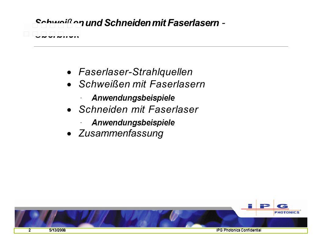 135/13/2008IPG Photonics Confidential Schweißen von Kupferrohren LängsnahtUmfangsnaht(t= 1,4 mm) Laser YLR5000 Faserdurchmesser d F = 100 µm Brennweitef= 300 mm P= 3 -5 kW