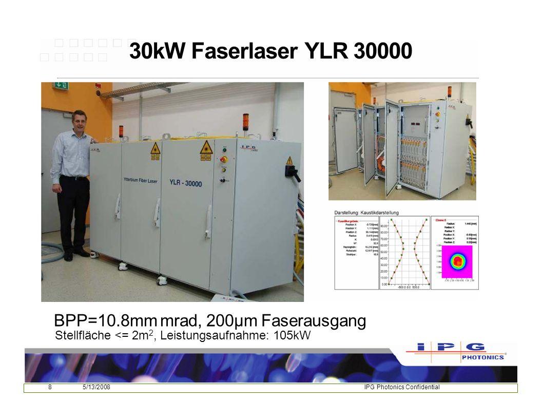 85/13/2008IPG Photonics Confidential 30kW Faserlaser YLR 30000 BPP=10.8mm mrad, 200µm Faserausgang Stellfläche <= 2m 2, Leistungsaufnahme: 105kW