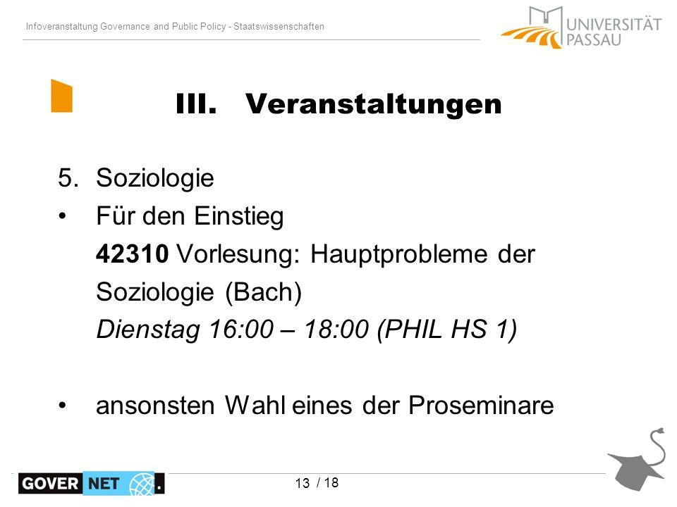 Infoveranstaltung Governance and Public Policy - Staatswissenschaften / 18 13 5.Soziologie Für den Einstieg 42310 Vorlesung: Hauptprobleme der Soziolo