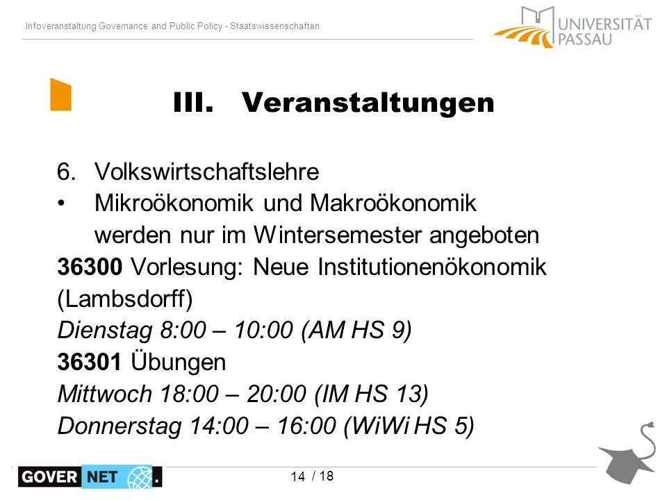 Infoveranstaltung Governance and Public Policy - Staatswissenschaften / 18 14 6.Volkswirtschaftslehre Mikroökonomik und Makroökonomik werden nur im Wi