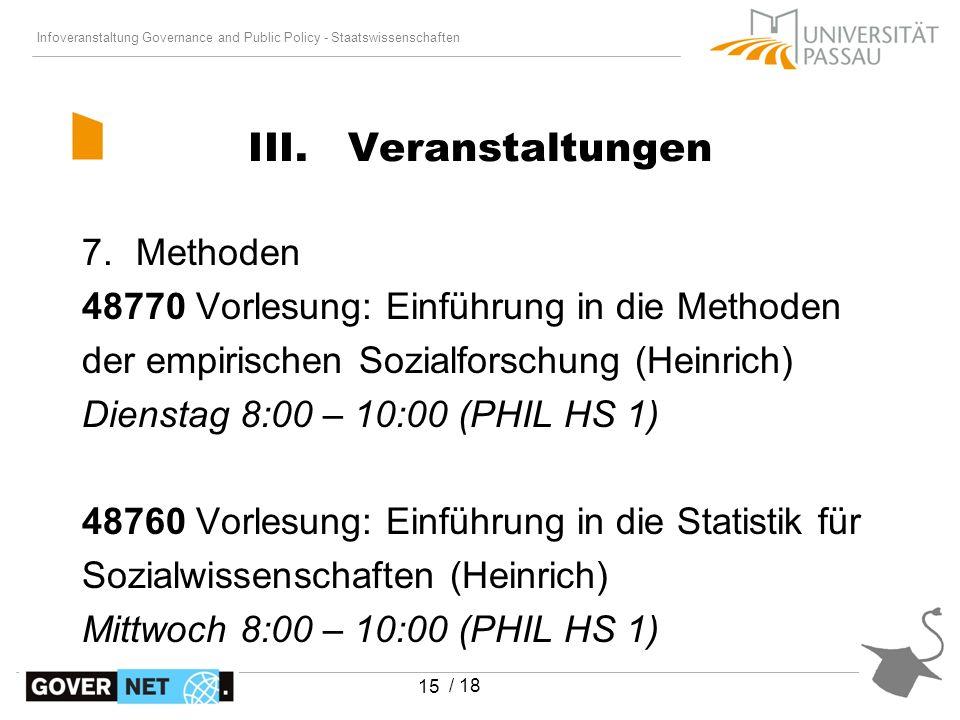 Infoveranstaltung Governance and Public Policy - Staatswissenschaften / 18 15 7.Methoden 48770 Vorlesung: Einführung in die Methoden der empirischen S