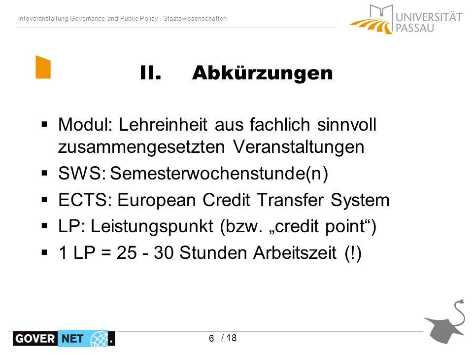 Infoveranstaltung Governance and Public Policy - Staatswissenschaften / 18 Modul: Lehreinheit aus fachlich sinnvoll zusammengesetzten Veranstaltungen
