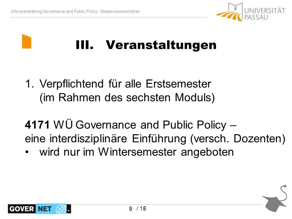 Infoveranstaltung Governance and Public Policy - Staatswissenschaften / 18 10 III.