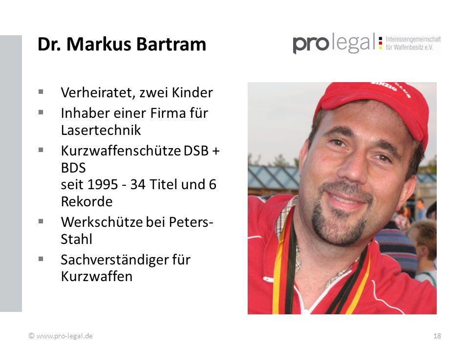 Dr. Markus Bartram Verheiratet, zwei Kinder Inhaber einer Firma für Lasertechnik Kurzwaffenschütze DSB + BDS seit 1995 - 34 Titel und 6 Rekorde Werksc