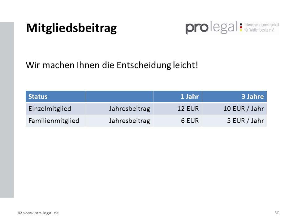 Mitgliedsbeitrag Status1 Jahr3 Jahre EinzelmitgliedJahresbeitrag12 EUR10 EUR / Jahr FamilienmitgliedJahresbeitrag6 EUR5 EUR / Jahr © www.pro-legal.de30 Wir machen Ihnen die Entscheidung leicht!