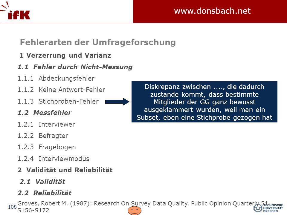 108 www.donsbach.net 1 Verzerrung und Varianz 1.1 Fehler durch Nicht-Messung 1.1.1 Abdeckungsfehler 1.1.2 Keine Antwort-Fehler 1.1.3 Stichproben-Fehle