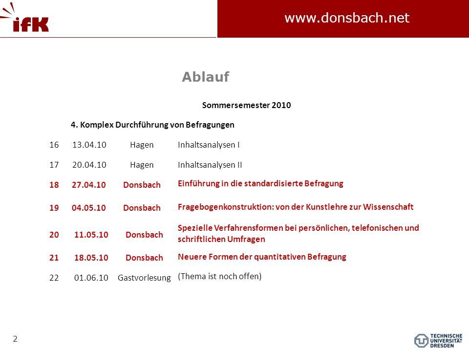 2 www.donsbach.net Ablauf Sommersemester 2010 4. Komplex Durchführung von Befragungen 1613.04.10HagenInhaltsanalysen I 1720.04.10HagenInhaltsanalysen