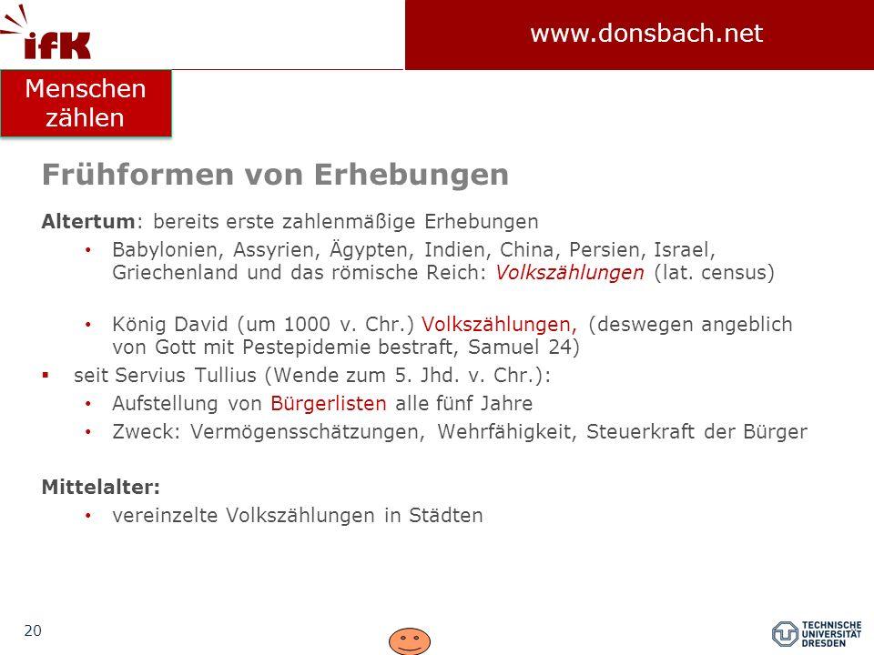 20 www.donsbach.net Frühformen von Erhebungen Altertum: bereits erste zahlenmäßige Erhebungen Babylonien, Assyrien, Ägypten, Indien, China, Persien, I
