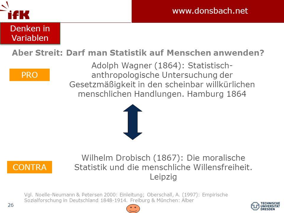 26 www.donsbach.net Adolph Wagner (1864): Statistisch- anthropologische Untersuchung der Gesetzmäßigkeit in den scheinbar willkürlichen menschlichen H