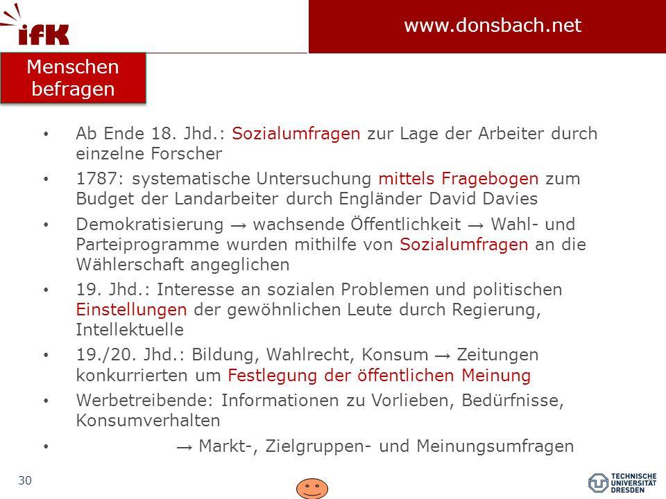 30 www.donsbach.net Ab Ende 18. Jhd.: Sozialumfragen zur Lage der Arbeiter durch einzelne Forscher 1787: systematische Untersuchung mittels Fragebogen