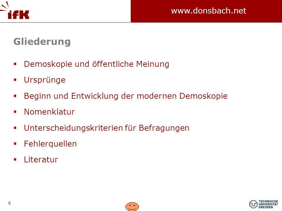 35 www.donsbach.net Gliederung Demoskopie und öffentliche Meinung Ursprünge Beginn und Entwicklung der modernen Demoskopie Nomenklatur Unterscheidungskriterien für Befragungen Fehlerquellen Literatur