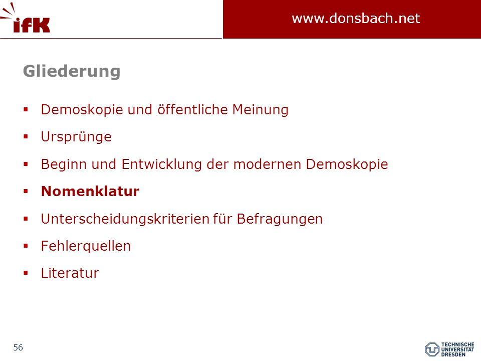 56 www.donsbach.net Gliederung Demoskopie und öffentliche Meinung Ursprünge Beginn und Entwicklung der modernen Demoskopie Nomenklatur Unterscheidungs