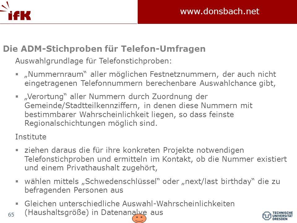 65 www.donsbach.net Auswahlgrundlage für Telefonstichproben: Nummernraum aller möglichen Festnetznummern, der auch nicht eingetragenen Telefonnummern