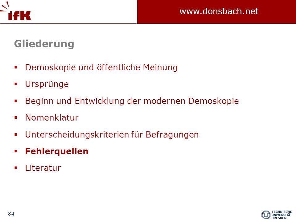 84 www.donsbach.net Gliederung Demoskopie und öffentliche Meinung Ursprünge Beginn und Entwicklung der modernen Demoskopie Nomenklatur Unterscheidungs