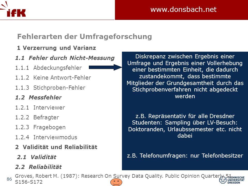 86 www.donsbach.net 1 Verzerrung und Varianz 1.1 Fehler durch Nicht-Messung 1.1.1 Abdeckungsfehler 1.1.2 Keine Antwort-Fehler 1.1.3 Stichproben-Fehler