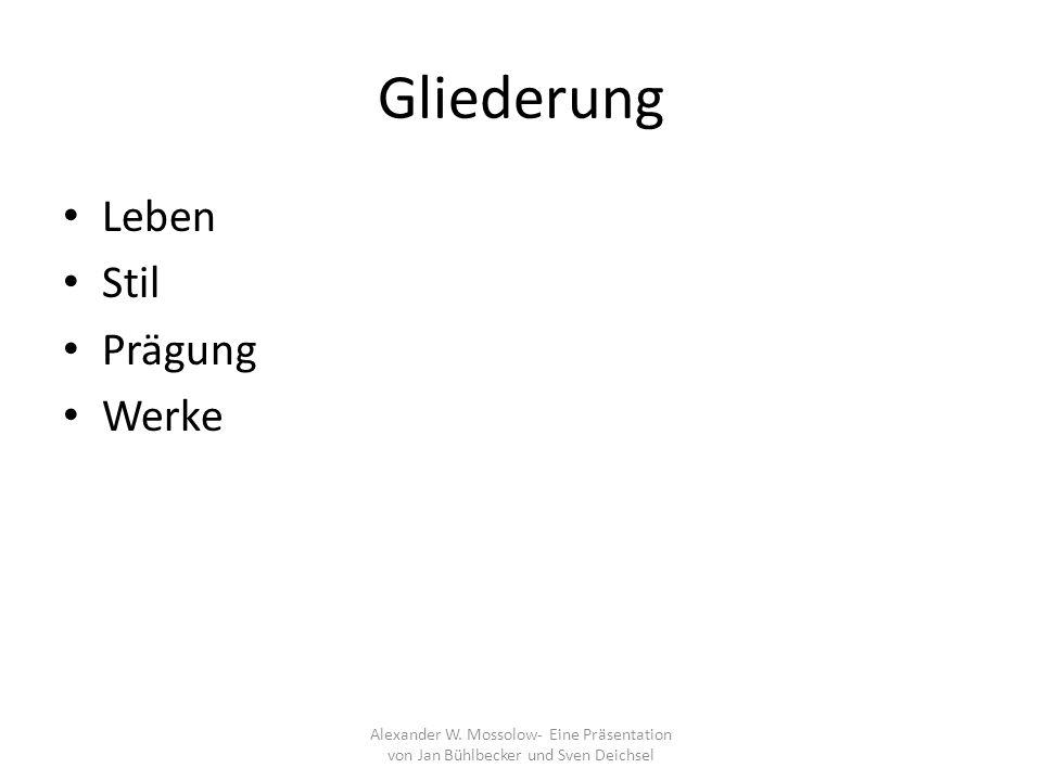 Werke Orchesterwerke (9) Konzerte (6) Bühnenwerke (5) Vokalmusik (6+x) Kammermusik (6) Klaviermusik (7+x) Viele Werke verschollen Meisten Werke sind noch unbekannt Keine Einigkeit der Quellen Alexander W.