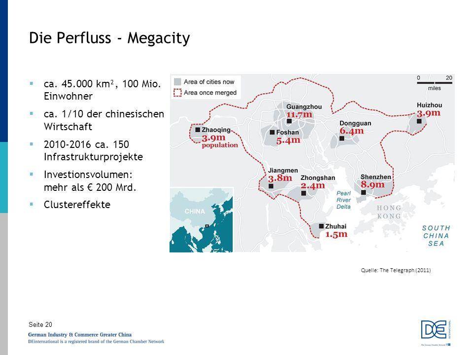 Seite 20 Quelle: The Telegraph (2011) Die Perfluss - Megacity ca. 45.000 km², 100 Mio. Einwohner ca. 1/10 der chinesischen Wirtschaft 2010-2016 ca. 15