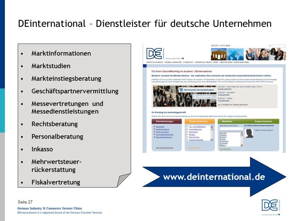 Seite 27 DEinternational – Dienstleister für deutsche Unternehmen Marktinformationen Marktstudien Markteinstiegsberatung Geschäftspartnervermittlung M